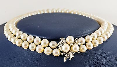 Vintage 6mm Double Strand Japanese Cultured Pearl Necklace w/ Diamond Clasp