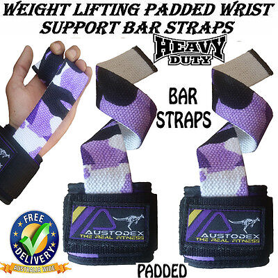Camo Weight Lifting Power Bar Wrist Straps wraps Bodybuilding Gym gloves