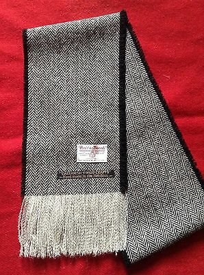 Black & white herringbone scarf. Harris Tweed 100% wool