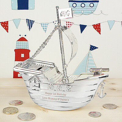 Personalised Silver Plated Pirate Ship Engraved Money Box Christening Gift Idea
