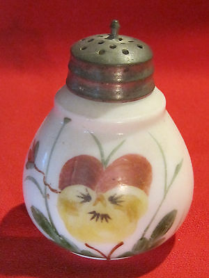 Victorian hand painted milk glass shaker muffineer with pansy flower design