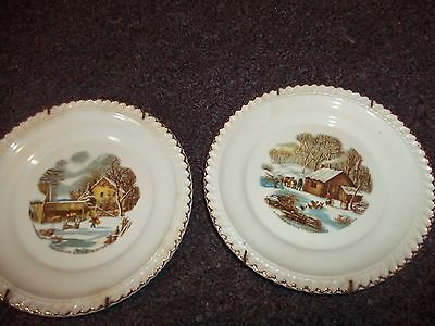 Currier and Ives ceramic wall plates decorative Harkerware USA 6in