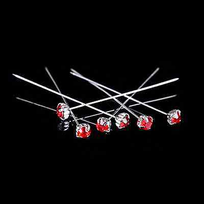 """12, 36 or 72 4cm Red Quality Diamante Pins Luxury Crystal Diamonte 1.5"""" 4mm"""