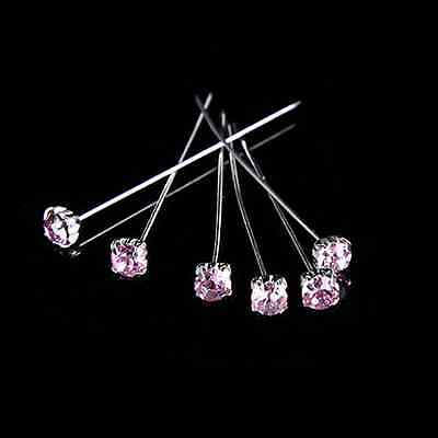 "12, 36 or 72 4cm Pink Quality Diamante Pins Luxury Crystal Diamonte 1.5"" 4mm"