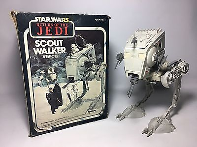 Vintage Star Wars Scout Walker AT ST Vehicle Rare Palitoy Hoth Scene Box France