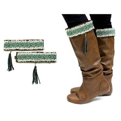 Beige and Turquoise Lace Boot Toppers with Leather Suede Tassle