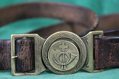 Rare Vintage SWISS Post horn Leather BELT & Inter Locking BUCKLE Set Paul Kramer