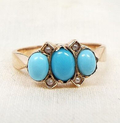 Antique Victorian 9ct Yellow Gold Dainty Turquoise and Seed Pearl Ring / Size J