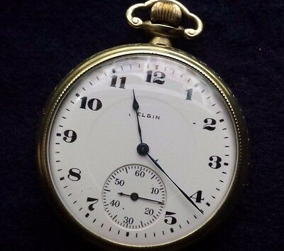 Elgin 1921 Antique Open Face Pocket Watch 12 Size 17 Jewels @ Works Perfecely@