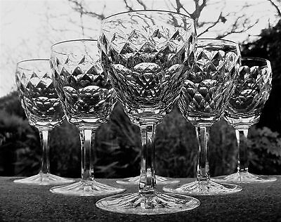 Set Of 6 Cut Glass Crystal Small Wine / Sherry Glasses - Hobnail & Thumbprints