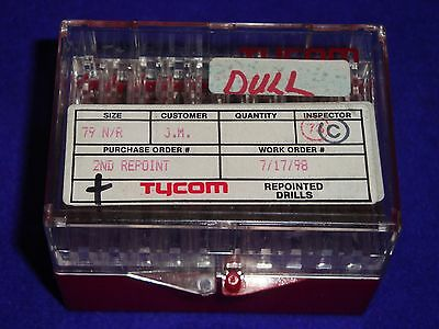 """50 Tycom Repointed Micro Carbide Pcb Drill Bits Size 79 / .0145"""" ~ 1/8"""" Shank"""