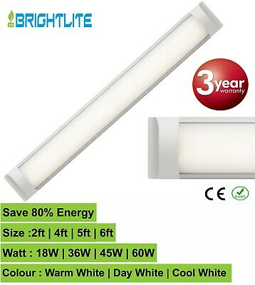 LED BATTEN SLIMLINE TUBE LIGHT WALL OR CEILING MOUNT 4ft 5ft 6ft HIGH LUMENS