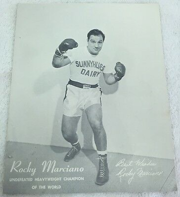 Rocky Marciano Vintage Sunnyhurst Farms Advertising Poster 8x10!! Extremely RARE