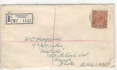 a79 Australia Registered Airmail cover to England
