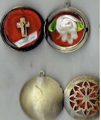 """True Cross Relic Locket """" Ex Indumentis """" Blessed to 2 First Class T/C Relics"""