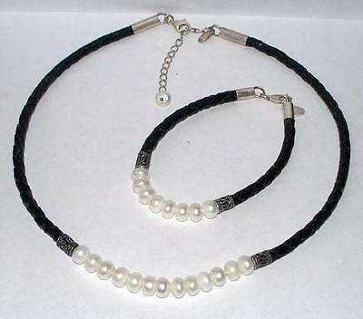 Sterling Silver and Fresh Water Pearls Braided Leather Necklace and Bracelet Set