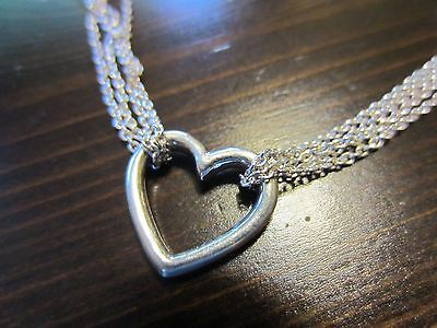 """925 Sterling Silver Signed Unique VTG Chain/Necklace Modern Heart Pendant 16""""=8g"""