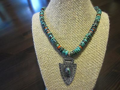 """Sterling Silver Old VTG RARE Turquoise Navajo ARROWHEAD Pendant Necklace 22"""""""