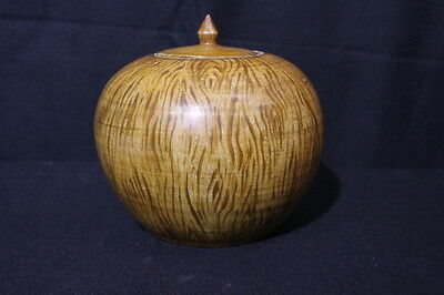 Vintage Mid-20th Century Chinese Hand Painted Faux Bois Jar/Urn