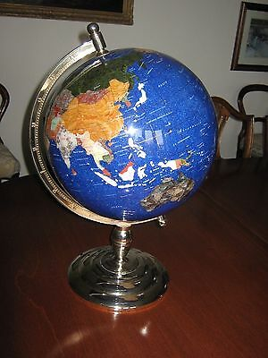"Magnificent Large Gemstone Globe 13"" (33cm) dia., 21""tall. Blue Lapis with gold."