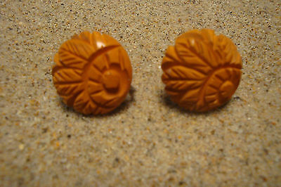 "Beautiful Hand Carved Bakelite Earrings; Butterscotch Color; 7/8"" Disk Shape!!!"