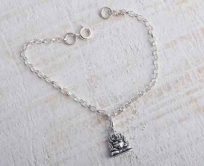 Sterling Silver 925 Buddha Charm Ankle Chain Bracelet Anklet