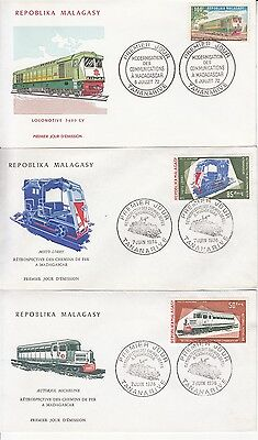 Trains rep. Malagasy 3 FDC's