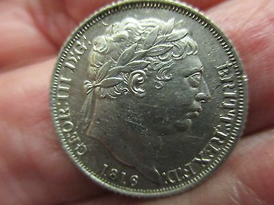 1816 SIXPENCE -KING GEORGE III SILVER COIN - Very high grade.