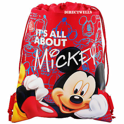 Disney Mickey Mouse Red Drawstring Bag School Backpack