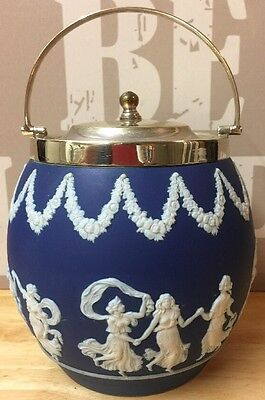 Vintage Blue and White Adams of Tunstall Ceramic Biscuit Barrel (Wedgwood Style)