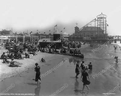 Long Beach CA  Bathers On Beach Scene 8x10 Reprint Of Old Photo