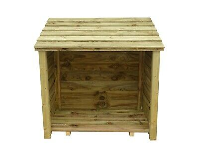 Chestnut Eco Log Store - Outdoor Firewood Storage Shed Pressure Treated
