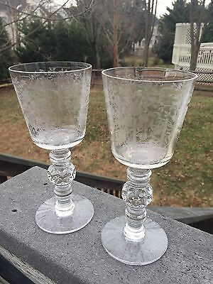 2 Superb Hersey Olympiad Clear Crystal Glass Goblets