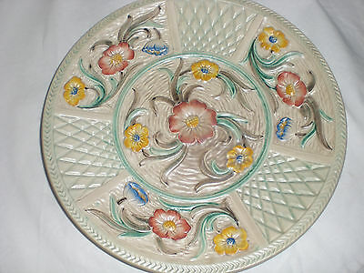 """H J Wood Foliage Embossed Pottery 9"""" Plate"""