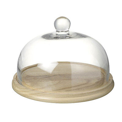 Large Glass Display Cover / Dome / Cloche w/wooden Base by Parlane 31 cm