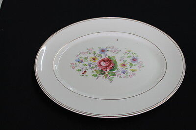 vintage shabby pink roses blue yellow floral Myott platter Made in England