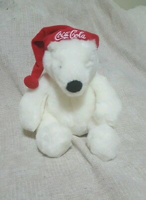"Coca Cola Polar Bear Santa Hat Bean bag Collectible 7"" Christmas Plush"