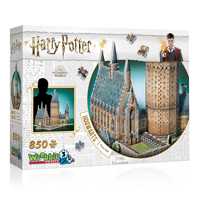 Wrebbit Harry Potter Hogwarts Great Hall 850 Piece 3D Puzzle NEW