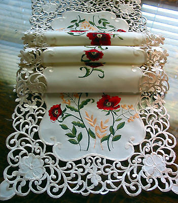 "Embroidered Table Runner Cut work Lace Floral Poppies 52""/132cm NEW Beautiful"