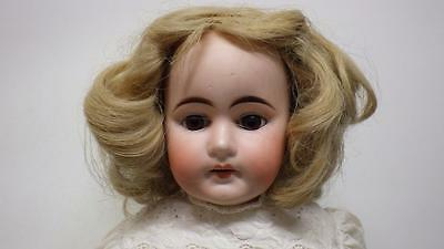 """Antique Porcelain Bisque Girl Doll Leather Body Sawdust Glass Eyes Teeth 19"""""""