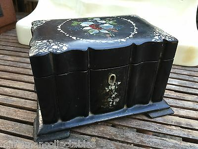 Gorgeous Antique English Victorian Papier Mache & Mother of Pearl Jewellery Box