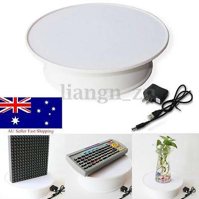 20cm Round White Velvet Top Electric Motorized Rotating Display Stand Turntable