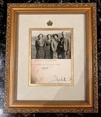 Queen Elizabeth Queen Mother & King George VI Signed Christmas Card 1950