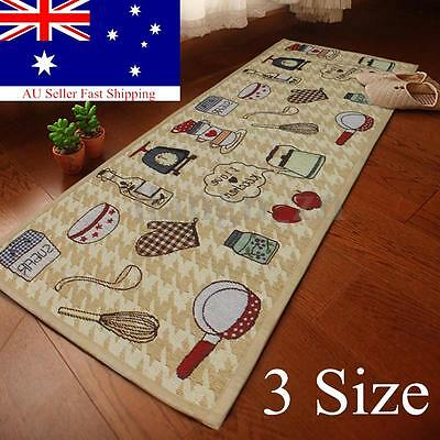 Jacquard Non Slip Rug Kitchen Bedroom Floor Mats Hallway Carpet Runner Washable