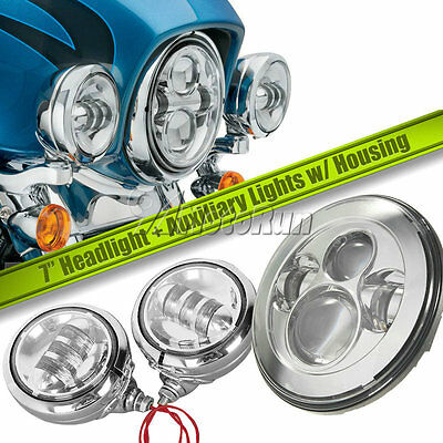 7'' Projector Daymaker Headlight + Passing Lights w/ Housing For Harley Davidson