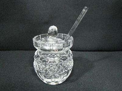 "Beautiful Cut-Crystal Preserve Jar With Crystal Spoon  3 1/4"" Tall  Kt179"