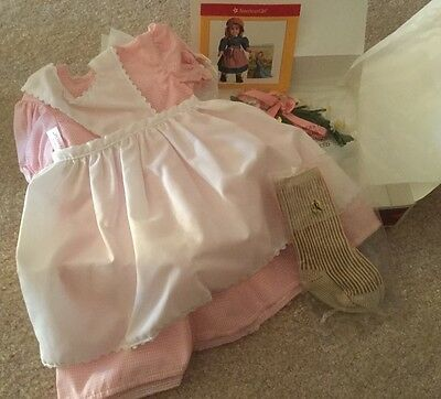 American Girl Kirsten's Birthday Outfit-Dress,Apron,Socks,Wreath RETIRED-BNIB