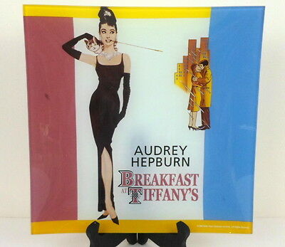 Audrey Hepburn Breakfast at Tiffanys Glass Plate Tray 1995 Radio Days Artwork