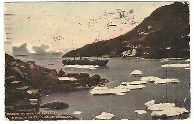 Post Card: STEAMER IN THE NARROWS, ICEBERGS, ST. JOHN'S, NEWFOUNDLAND, CA. 1913