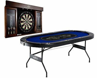 10-Player Folding Texas Holdem Poker Black Top Table w/ Dartboard Cup Holder Set